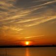色づく夕陽